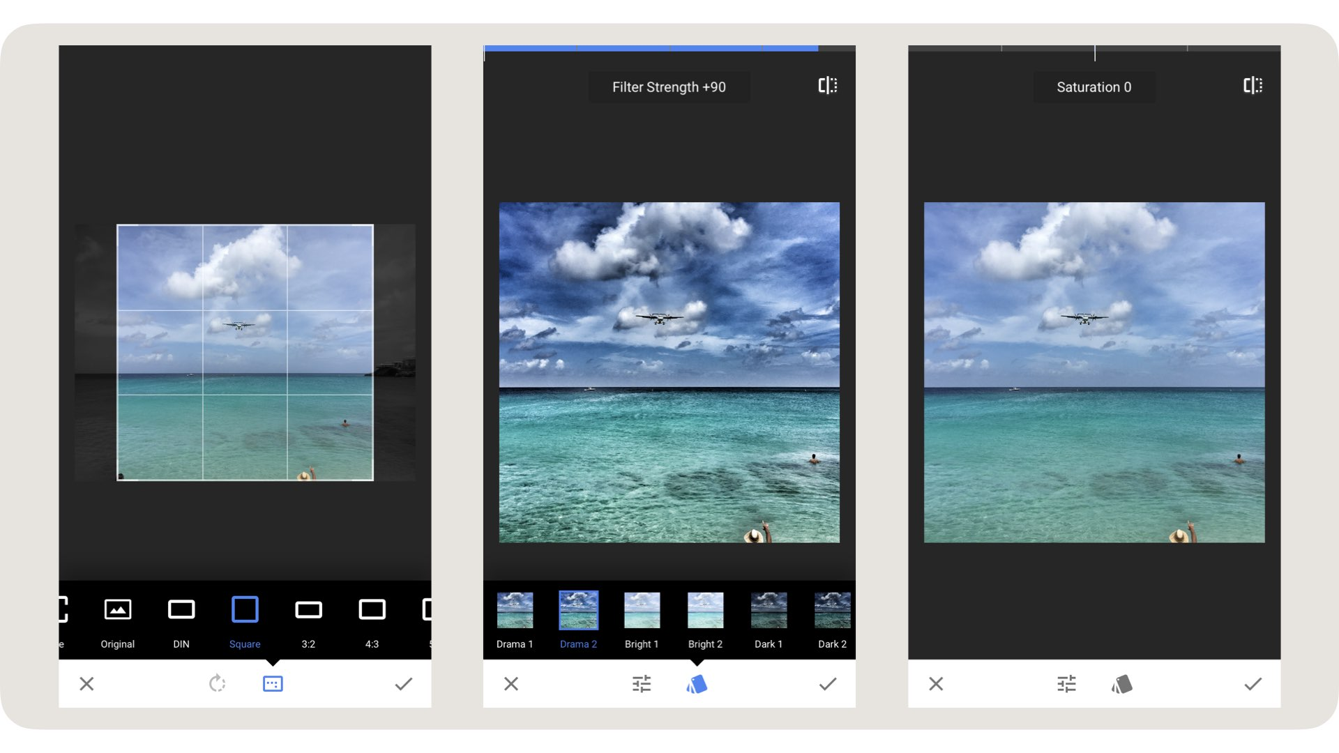 smartphone editing tips, smartphone editing tutorial, smartphone photography tips, smartphone photography tricks, smartphone photography tutorials _ Last year I made an amazing journey sailing from Colombia to Portugal on the Nomad Cruise. On the way, we made one stop on Saint Maarten Island in the Caribbean. The island itself is not the most interesting place but I did want to go to the beach where the planes fly over. I'm always trying to make photos of this kind of touristic hotspots a little bit different. So I positioned myself in such a way that all the tourists on the beach would be out of my frame. When I saw this guy with the hat I knew that would be my shot. Later when I checked the image on my phone I felt a little disappointed. The photo did not reflect my experience of being on that beach at all. It has a couple of flaws. Most embarrassing one being my finger in front of the lens. But that is not the only thing. The colors and contrasts are flat and there are more distracting elements. But I could see the potential. So I started to edit the image in Snapseed to make it come alive.