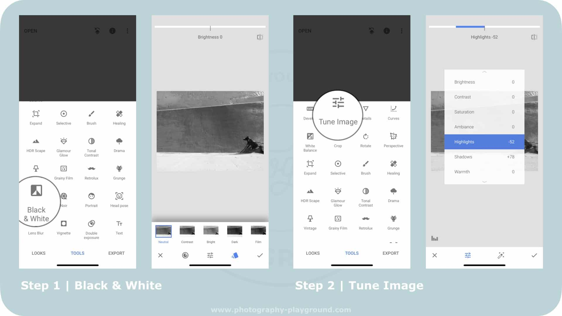 snapseed black and white tutorial, black and white photography, snapseed before and after | Photo: Screenshots Snapseed | Copyright Karin van Mierlo | Photography Playground