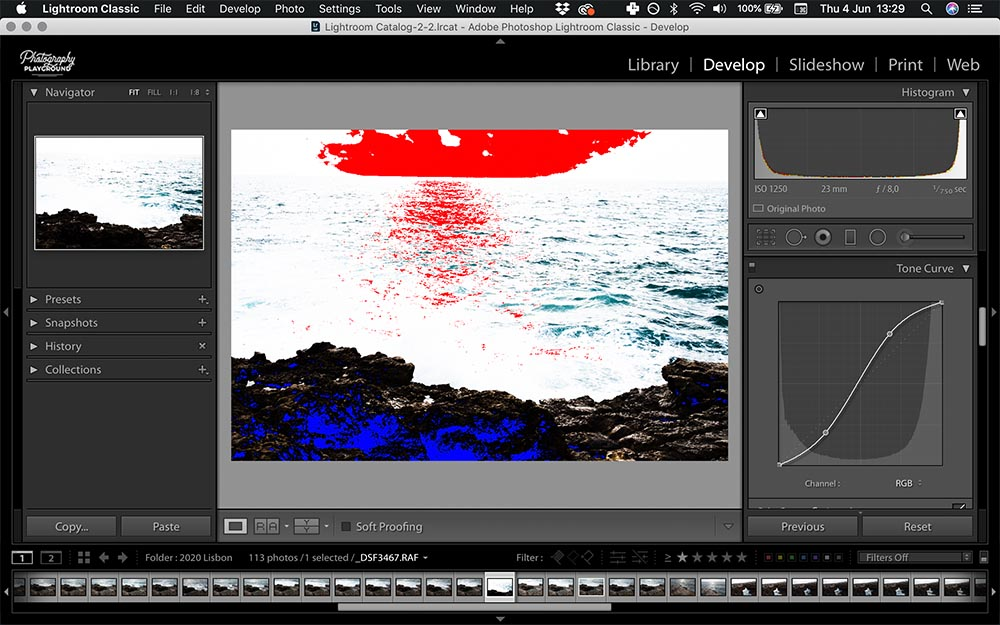 Lightroom hacks| Photo: Screenshot of Lightroom, Show Clipping Overlay © Karin van Mierlo | Photography Playground.
