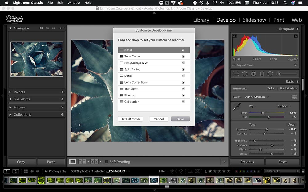 Lightroom hacks| Photo: Screenshot of Lightroom, Customize Develop Panel © Karin van Mierlo | Photography Playground.
