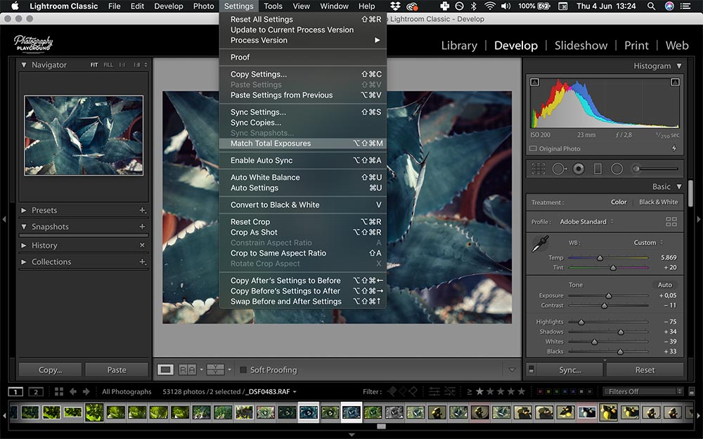 Lightroom hacks| Photo: Screenshot of Lightroom, Match Total Exposures © Karin van Mierlo | Photography Playground.