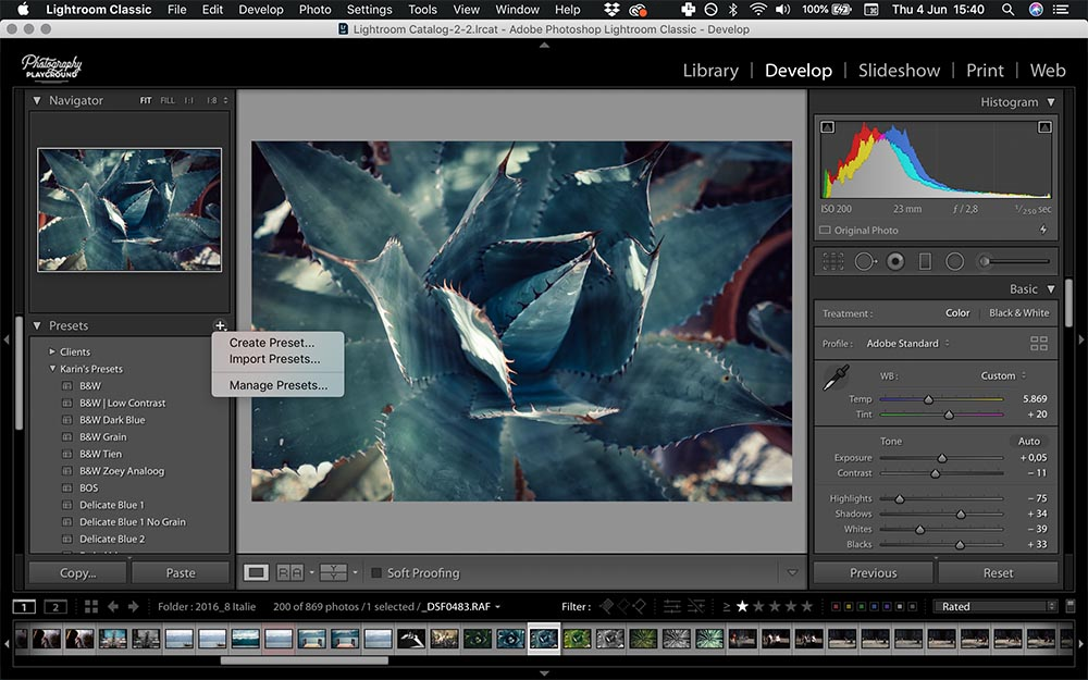 Lightroom hacks| Photo: Screenshot of Lightroom, Presets © Karin van Mierlo | Photography Playground.