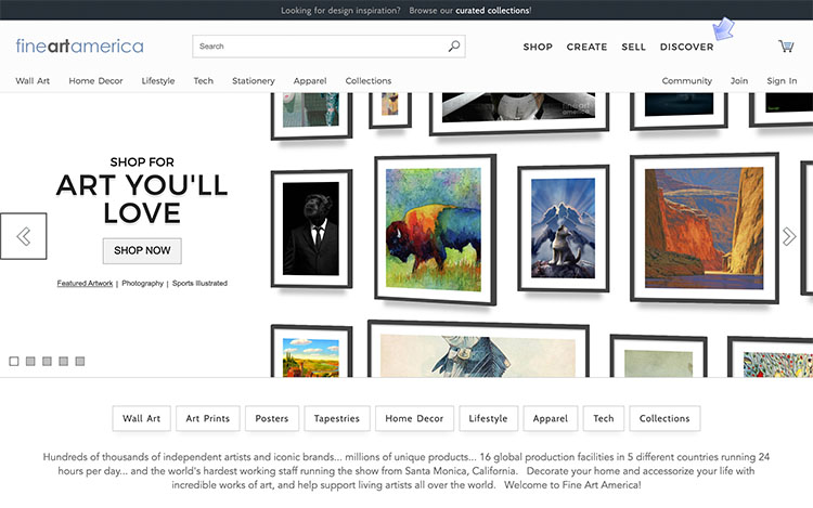 make money with photography, How to sell photos online and make money | Screenshot Fine Art America