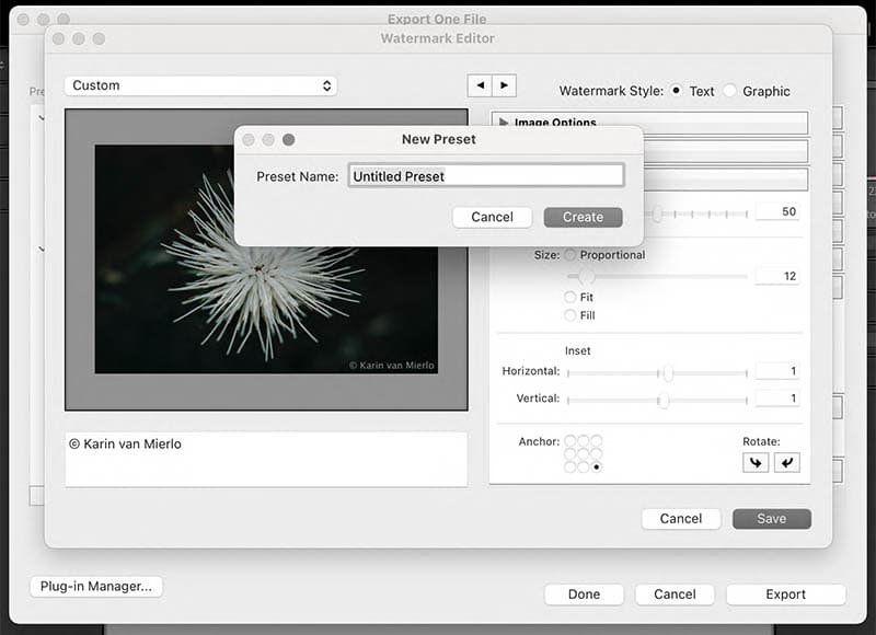 how to watermark photos   watermark editor in Lightroom